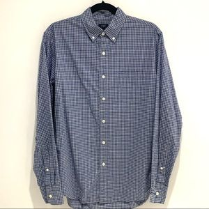 J Crew | Blue & Grey Gingham Slim Fit Cotton Shirt